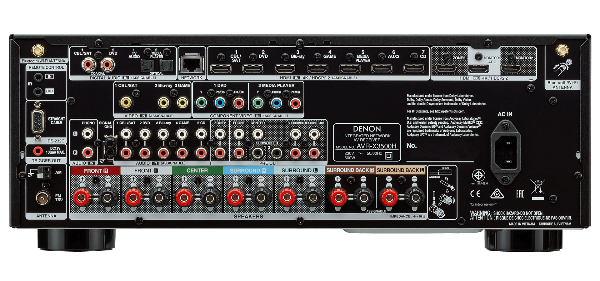 Denon AVR-X3500H AV Receiver 7 2 Channel HEOS Dolby Atmos DTS:X 4K HDCP 2 2  HDR Alexa