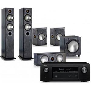 Denon AVR-X3400H AV Receiver w/ Monitor Audio Bronze 5 Speaker Package (5.1)