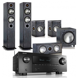 Denon AVR-X2500H AV Receiver w/ Monitor Audio Bronze B5 AV Speaker Package