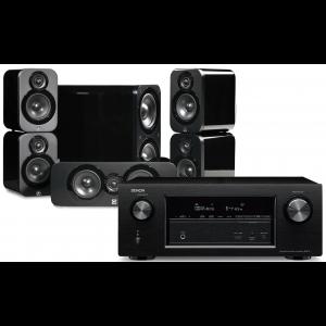 Denon AVR-X3400H AV Receiver w/ Q Acoustics 3000 Bookshelf Speaker Package (5.1)