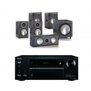 Onkyo TX-NR555 AV Receiver w/ Monitor Audio Bronze 1 Speaker Package 5.1