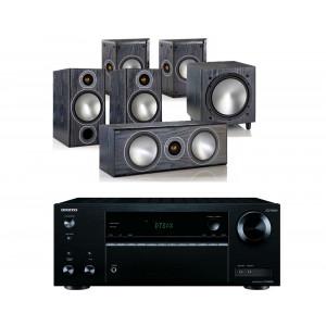 Onkyo TX-NR575E AV Receiver w/ Monitor Audio Bronze 2 Speaker Package 5.1