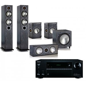 Onkyo TX-NR555 AV Receiver w/ Monitor Audio Bronze 5 Speaker Package 5.1