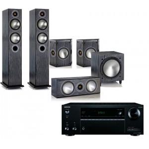 Onkyo TX-NR555 AV Receiver w/ Monitor Audio Bronze 5 Speaker Package 5.1