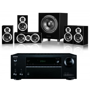 Onkyo TX-NR555 AV Receiver w/ Wharfedale DX-1SE Speaker Package 5.1