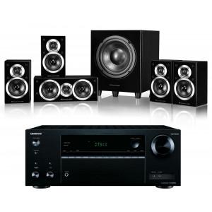 Onkyo TX-NR474 AV Receiver w/ Wharfedale DX-1SE Speaker Package 5.1