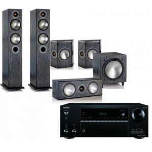 Onkyo TX-NR656 AV Receiver w/ Monitor Audio Bronze 5 Speaker Package 5.1