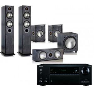 Onkyo TX-NR676E AV Receiver w/ Monitor Audio Bronze 5 Speaker Package 5.1