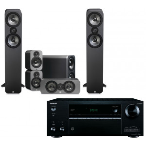 Onkyo TX-NR676E AV Receiver w/ Q Acoustics 3050 Speaker Package 5.1