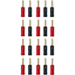 QED Screwloc ABS 4mm Banana Plugs - 10 x pairs (10 x red + 10 x black)