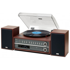 TEAC MC-D800 Turntable CD Bluetooth Audio System Cherry