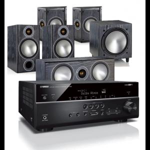 Yamaha RX-V685 AV Receiver w/ Monitor Audio Bronze 2 Speaker Package 5.1