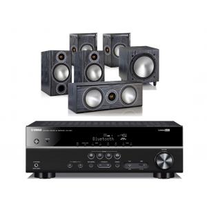 Yamaha RX-V381 AV Receiver w/ Monitor Audio Bronze 2 Speaker Package 5.1
