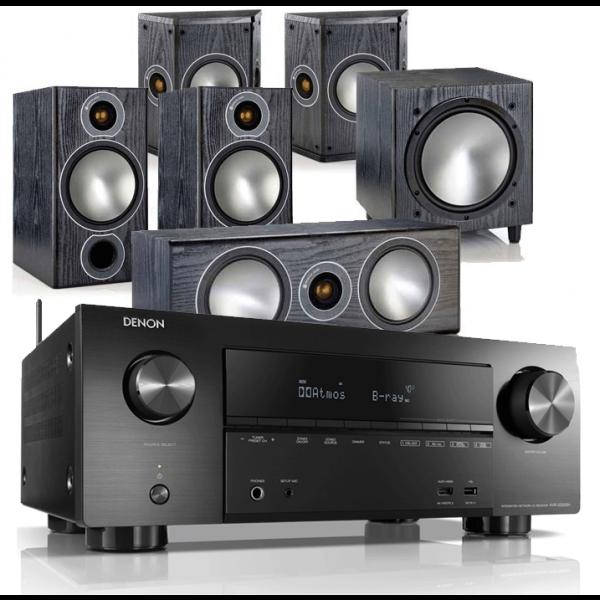 Denon AVR-X2500H AV Receiver w/ Monitor Audio Bronze 2 AV Speaker Package