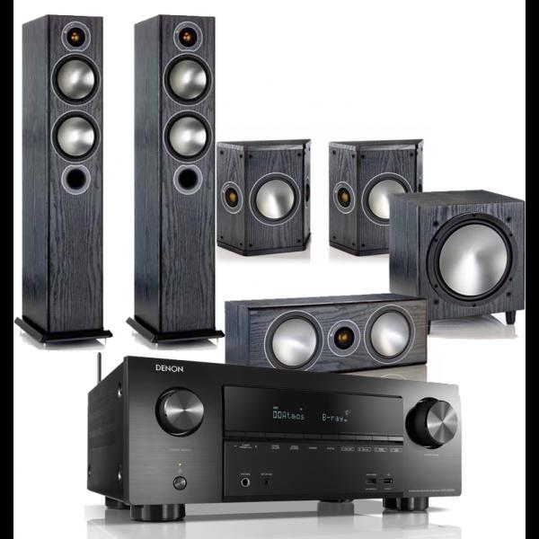 Denon AVR-X2500H AV Receiver w/ Monitor Audio Bronze B5 AV Speaker Package