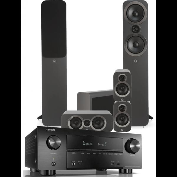 Denon AVR-X3500H AV Receiver w/ Q Acoustics 3050i Floorstanding Speakers (5.1)