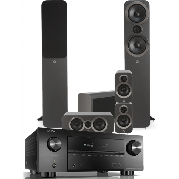 Denon AVR-X4500H AV Receiver w/ Q Acoustics 3050i Speaker Package 5.1