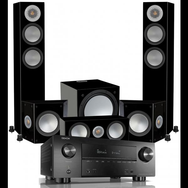 Denon AVR-X3600H AV Receiver w/ Monitor Audio Silver 200 Speaker Package