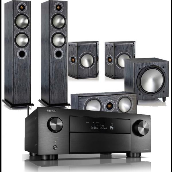 Denon AVR-X4500H AV Receiver w/ Monitor Audio Bronze 5 Speaker Package 5.1