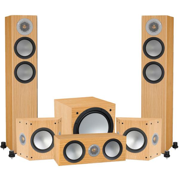Monitor Audio Silver 200 AV12 5.1 Speaker Package Natural Oak
