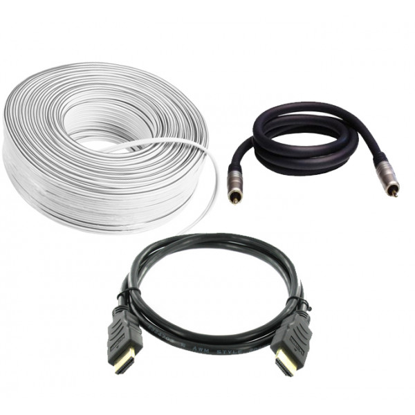 (1 x HDMI, 30m Speaker Cable, 3m Subwoofer Cable)