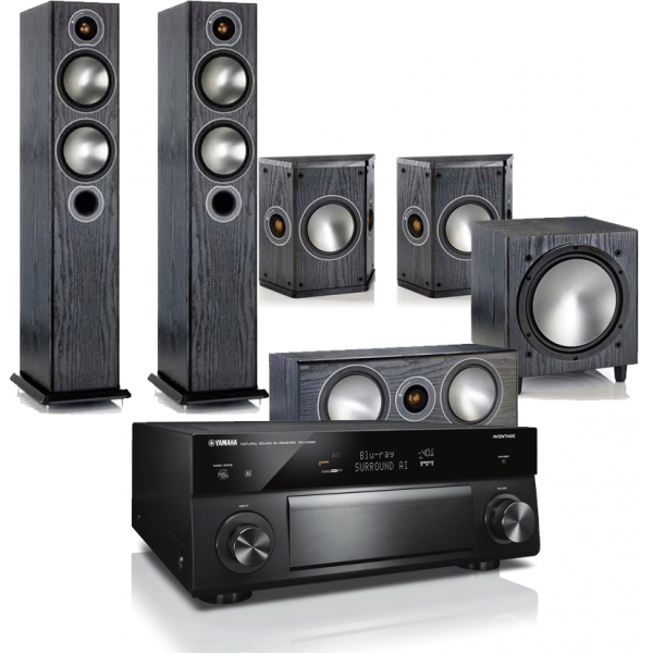 Yamaha RX-A1080 AV Receiver w/ Monitor Audio Bronze B5 Floorstanding Speaker Package 5.1
