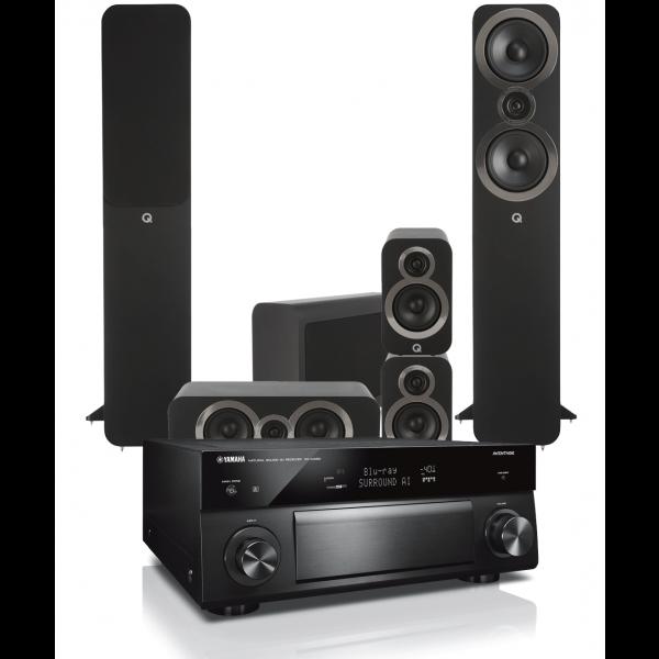 Yamaha RX-A1080 AV Receiver w/ Q Acoustics 3050i Floorstanding Cinema Pack 5.1