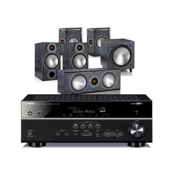 Yamaha RX-V585 AV Receiver w/ Monitor Audio Bronze B2 Speaker Package 5.1