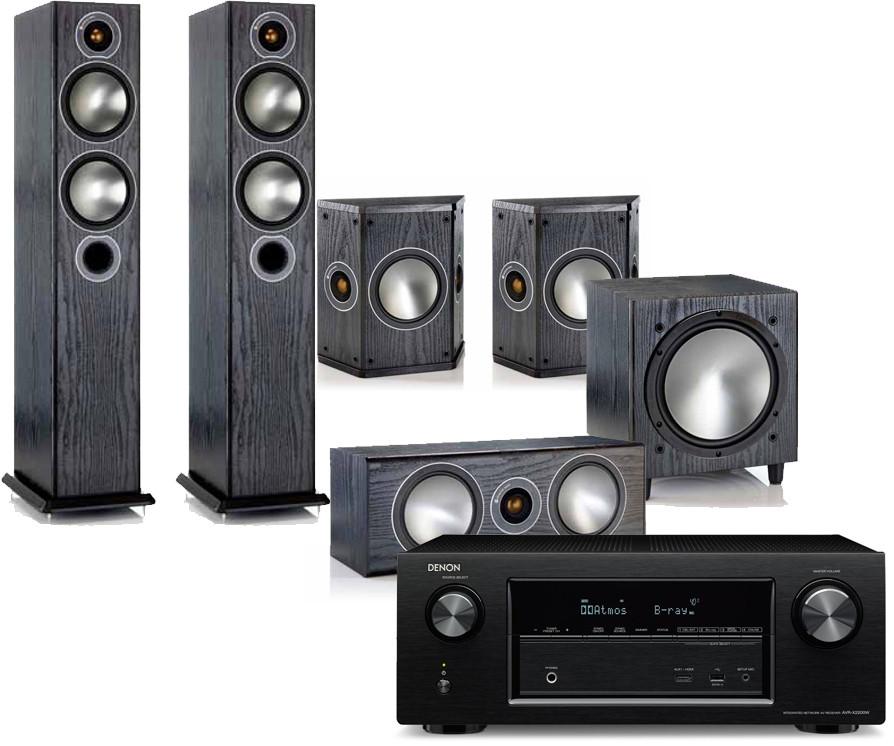 Denon AVR-X3400H AV Receiver w/ Monitor Audio Bronze B5 Speaker Package  (5 1)