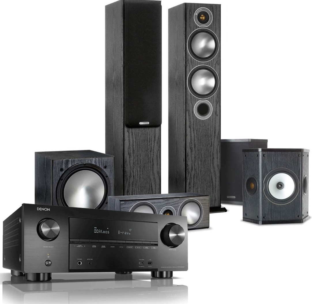 Denon AVR-X3500H AV Receiver w/ Monitor Audio Bronze 5 Speaker Package (5 1)