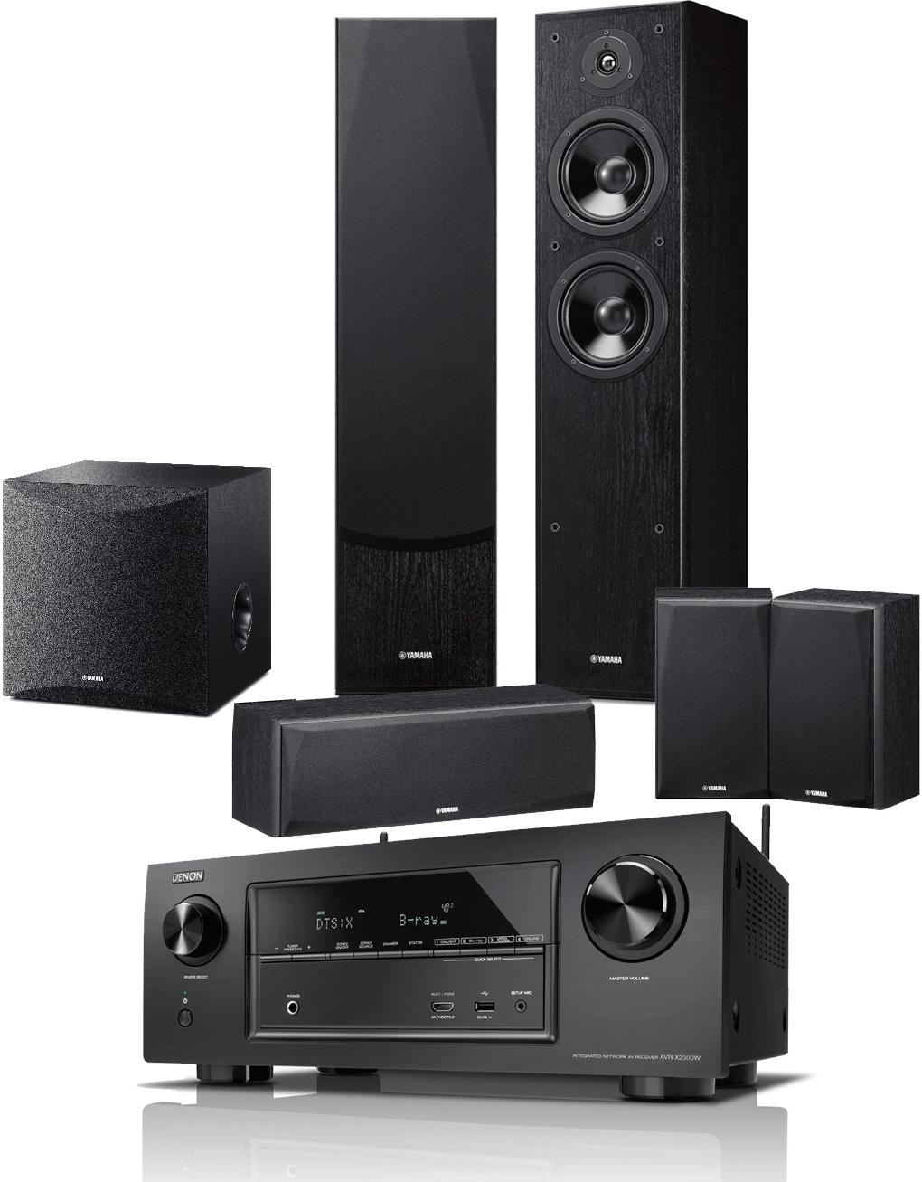 Denon AVR-X2300W AV Receiver w/ Yamaha NS-F51 Speaker Package (5.1)
