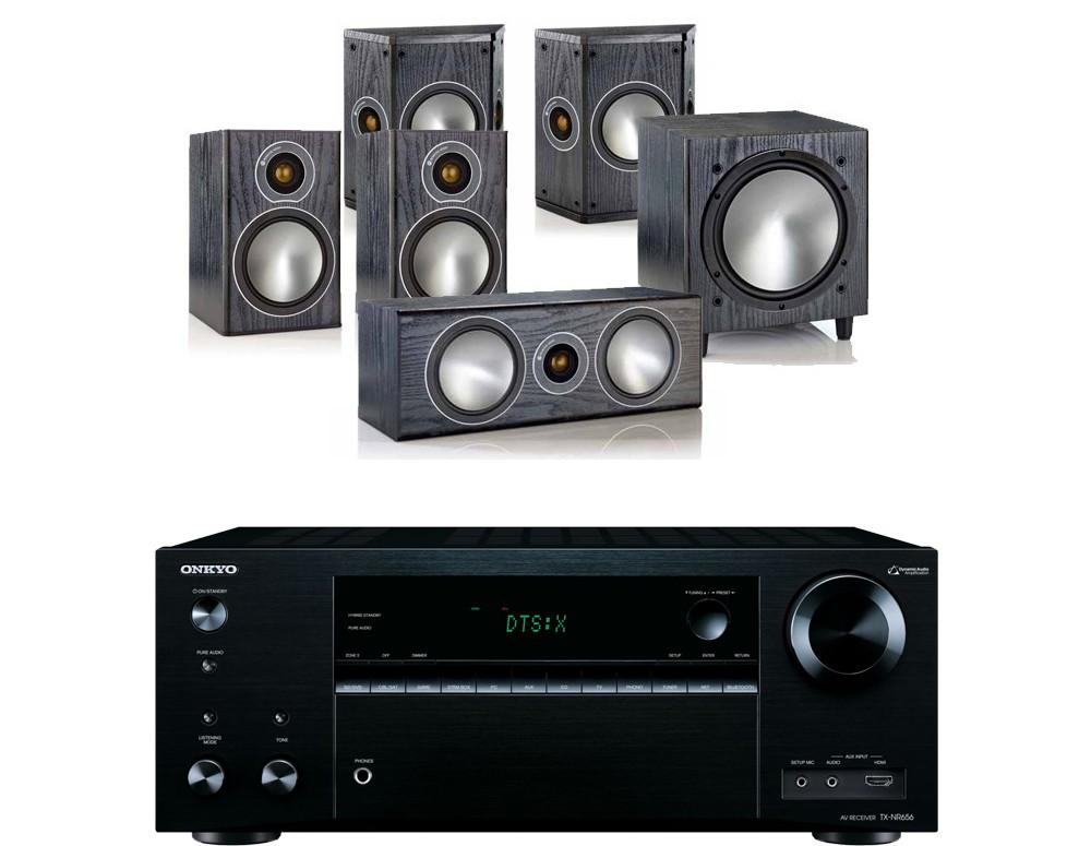 Onkyo TX-NR656 AV Receiver  w/ Monitor Audio Bronze 1 Speaker Package 5.1